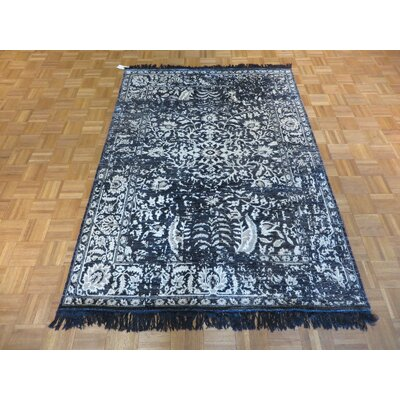 One-of-a-Kind Paden Hand-Knotted Black Area Rug