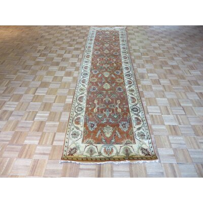 One-of-a-Kind Padillo Antiqued Serapi Heriz Hand-Knotted Silk Ivory Area Rug
