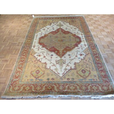 One-of-a-Kind Elbridge Antiqued Serapi Heriz Hand-Knotted Ivory/Rust Area Rug