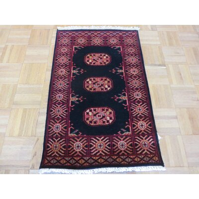 One-of-a-Kind Pellegrino Bokara Hand-Knotted Wool Black Area Rug Rug Size: Rectangle 111 x 3