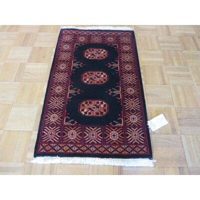 One-of-a-Kind Pellegrino Bokara Hand-Knotted Wool Black Area Rug Rug Size: Rectangle 110 x 3