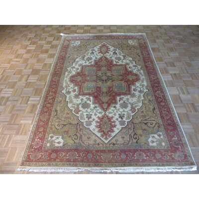 One-of-a-Kind Josephson Antiqued Serapi Heriz Hand-Knotted Wool Antique Ivory Area Rug Rug Size: Rectangle 4 x 6
