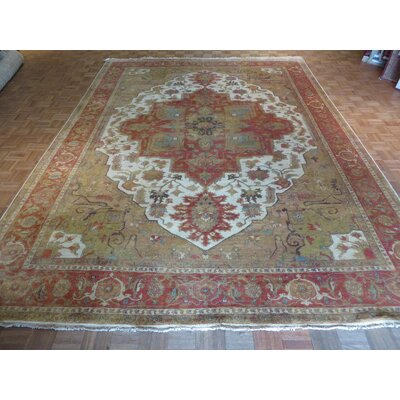 One-of-a-Kind Pellegrino Antiqued Serapi Heriz Hand-Knotted Ivory/Rust Area Rug