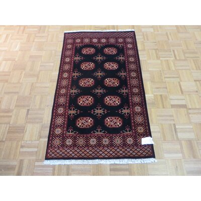 One-of-a-Kind Pellegrino Bokara Hand-Knotted Wool Black Area Rug