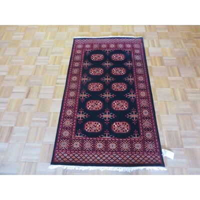 One-of-a-Kind Pellegrino Bokara Hand-Knotted Wool Black Area Rug Rug Size: Rectangle 3 x 51
