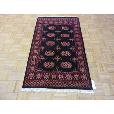 One-of-a-Kind Pellegrino Bokara Hand-Knotted Wool Black Area Rug Rug Size: Rectangle 3 x 410