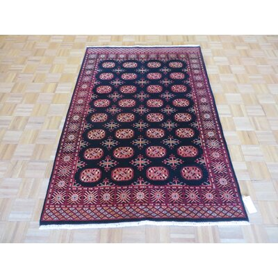 One-of-a-Kind Pellegrino Bokara Hand-Knotted Wool Black Area Rug Rug Size: Rectangle 46 x 66