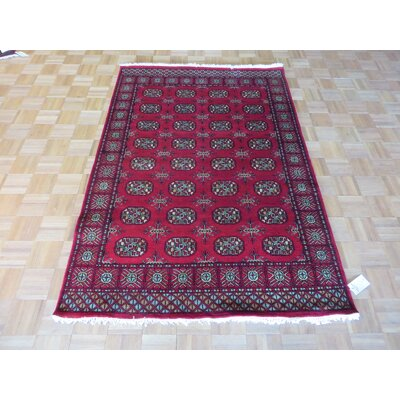 One-of-a-Kind Pellegrino Bokara Hand-Knotted Rayon from Bamboo Silk Red Area Rug