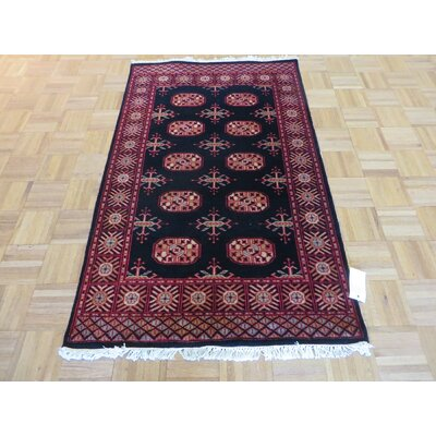 One-of-a-Kind Pellegrino Bokara Hand-Knotted Wool Black Area Rug Rug Size: Rectangle 46 x 69