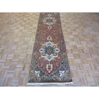 One-of-a-Kind Josephson Antiqued Serapi Heriz Hand-Knotted Wool Rust Red Area Rug