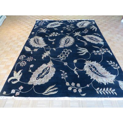 One-of-a-Kind Railey Hand-Knotted Wool Black Area Rug
