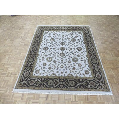 One-of-a-Kind Rhyne Hand-Knotted Wool Ivory/Brown Area Rug