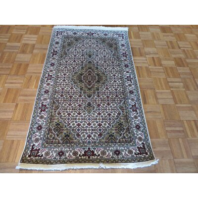 One-of-a-Kind Raiden Hand-Knotted Wool Ivory Area Rug Rug Size: Runner 3 x 6