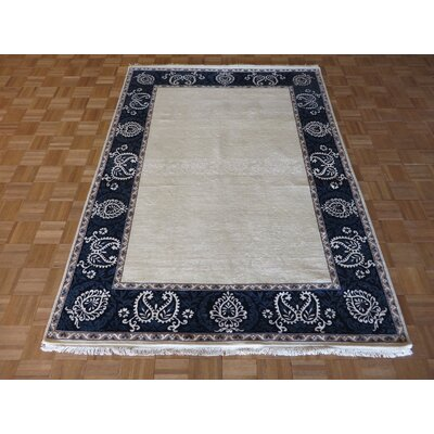 One-of-a-Kind Rhyne Hand-Knotted Wool Ivory/Blue Area Rug