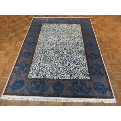 One-of-a-Kind Rainer Hand-Knotted Wool Ivory/Blue Area Rug