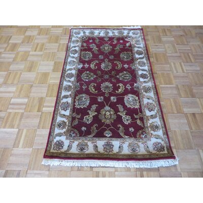 One-of-a-Kind Rhyne Burgundy Hand-Knotted Wool Burgundy Area Rug