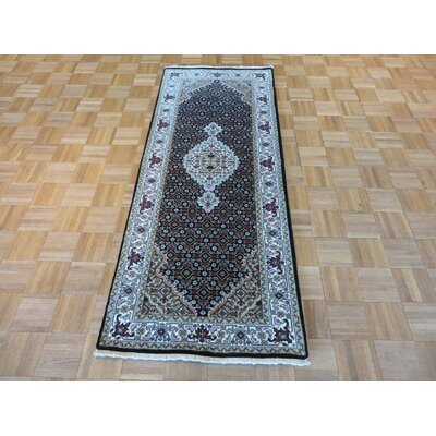 One-of-a-Kind Raiden Hand-Knotted Black Area Rug Rug Size: Runner 27 x 66