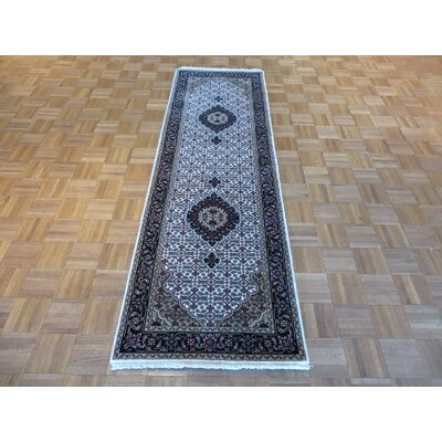 One-of-a-Kind Raiden Hand-Knotted Wool Ivory/Black Area Rug