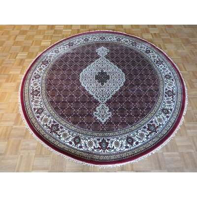 One-of-a-Kind Rhyne Mahi Hand-Knotted Wool Red Area Rug Rug Size: Round 7