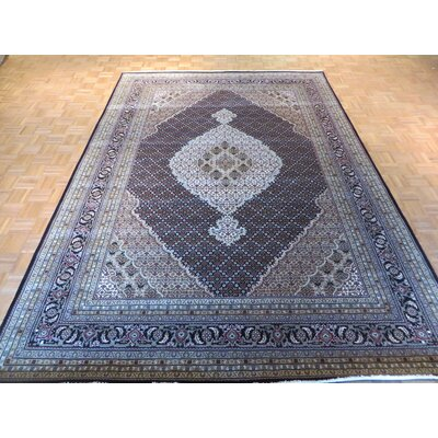 One-of-a-Kind Rhyne Mahi Hand-Knotted Wool Black Area Rug