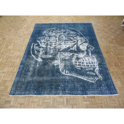 One-of-a-Kind Padro Hand-Knotted Wool Blue Area Rug