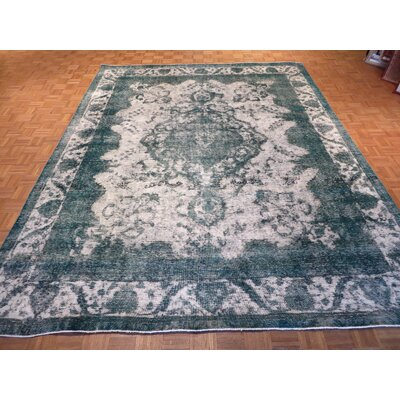 One-of-a-Kind Padro Hand-Knotted Silver/Teal Area Rug