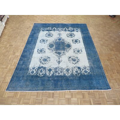 One-of-a-Kind Padro Hand-Knotted Wool Ivory/Sky Blue Area Rug