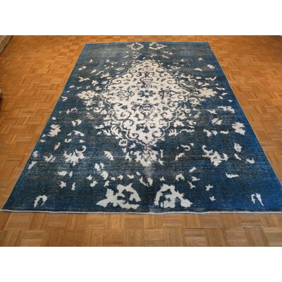 One-of-a-Kind Padro Hand-Knotted Wool Ivory/Blue Area Rug