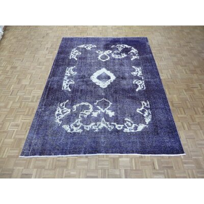 One-of-a-Kind Padro Hand-Knotted Wool Purple Area Rug