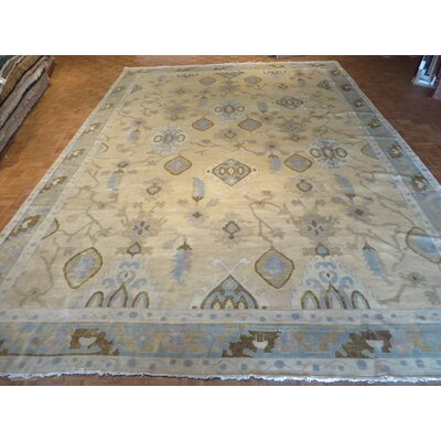 One-of-a-Kind Josephson Turkish Oushak Hand-Knotted Wool Beige Area Rug Rug Size: Rectangle 12 x 18