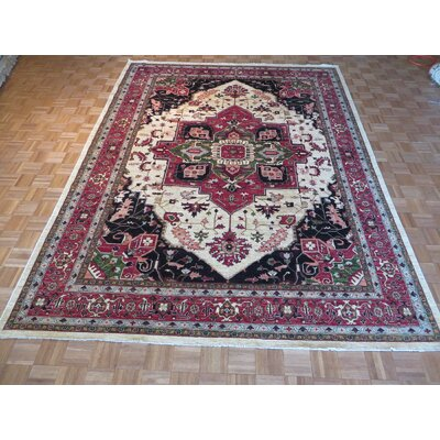 One-of-a-Kind Railsback Serapi Heriz Hand-Knotted Wool Ivory Area Rug