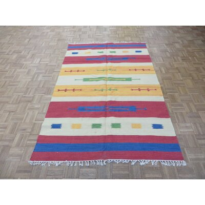 One-of-a-Kind Pasuruan Kilim Flat Weave Hand-Woven Reversible Hand-Knotted Blue/Green Area Rug Rug Size: Rectangle 6 x 9