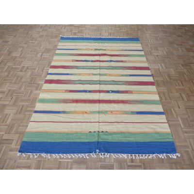 One-of-a-Kind Pasuruan Kilim Flat Weave Hand-Woven Reversible Hand-Knotted Wool Sky/Blue/White Area Rug