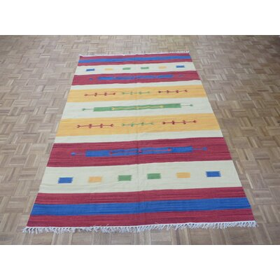 One-of-a-Kind Pasuruan Kilim Flat Weave Hand-Woven Reversible Hand-Knotted Blue/Red Area Rug