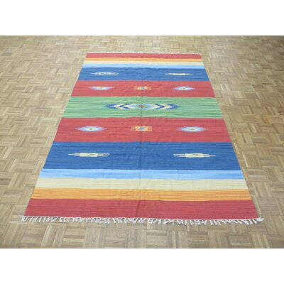 One-of-a-Kind Pasuruan Kilim Flat Weave Hand-Woven Reversible Hand-Knotted Wool Green/Red Area Rug