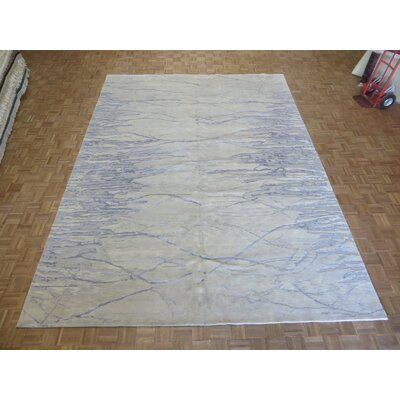 One-of-a-Kind Dickison Modern Hand-Knotted Wool Ivory Area Rug