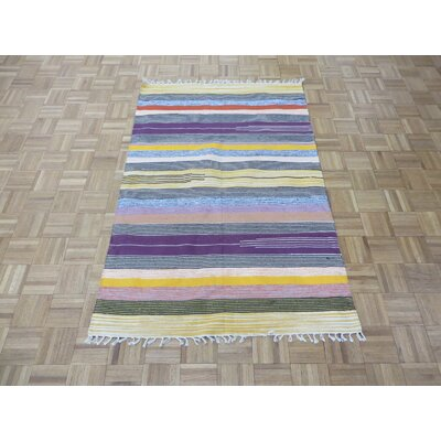 One-of-a-Kind Pasuruan Kilim Flat Weave Hand-Woven Reversible Hand-Knotted Wool Black/Yellow Area Rug
