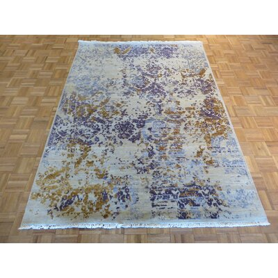 One-of-a-Kind Pasuruan Modern Hand-Knotted Wool Ivory Area Rug