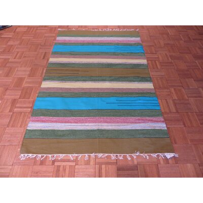 One-of-a-Kind Pasuruan Kilim Flat Weave Hand-Woven Reversible Hand-Knotted Wool Blue/Green Area Rug