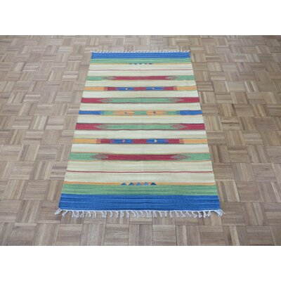 One-of-a-Kind Pasuruan Kilim Flat Weave Hand-Woven Reversible Hand-Knotted Wool Yellow/Green Area Rug Rug Size: Rectangle 4 x 6