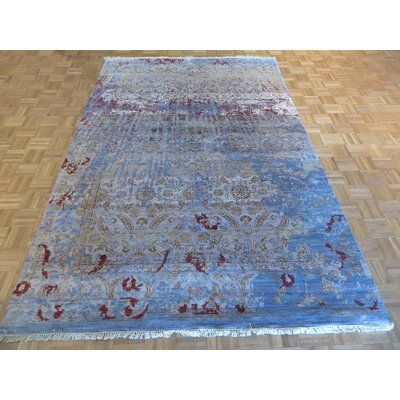 One-of-a-Kind Pellegrino Modern Hand-Knotted Wool Sky Blue Area Rug