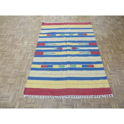 One-of-a-Kind Pasuruan Kilim Flat Weave Hand-Woven Reversible Hand-Knotted Wool Yellow/White Area Rug