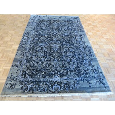 One-of-a-Kind Pellegrino Modern Hand-Knotted Wool Black Area Rug
