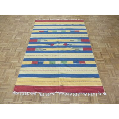 One-of-a-Kind Pasuruan Kilim Flat Weave Hand-Woven Reversible Hand-Knotted Wool Ivory/Blue Area Rug