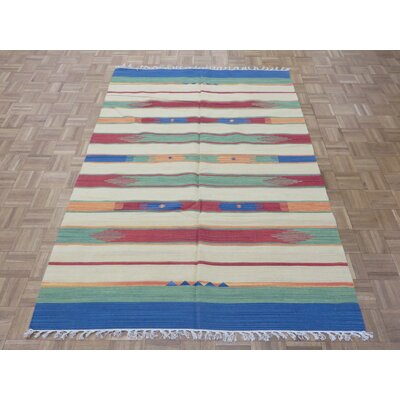 One-of-a-Kind Pasuruan Kilim Flat Weave Hand-Woven Reversible Hand-Knotted Wool Red/Yellow Area Rug