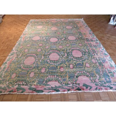 One-of-a-Kind Paez Ikat Hand-Knotted Wool Green Area Rug