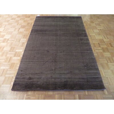 One-of-a-Kind Elbridge Hand-Knotted Rayon from Bamboo Silk Chocolate Brown Area Rug