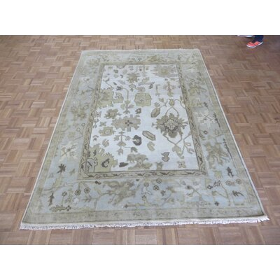 One-of-a-Kind Rhyne Oushak Hand-Knotted Wool Ivory/Sky Blue Area Rug