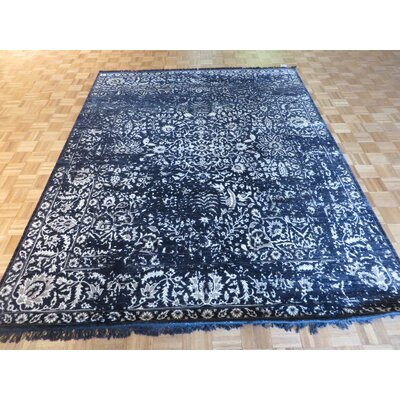 One-of-a-Kind Paden Hand-Knotted Wool Black Area Rug