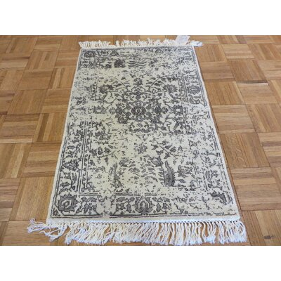 One-of-a-Kind Holz Hand-Knotted Wool Ivory Area Rug